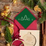 Kartki świąteczne z magnesem lub bombką